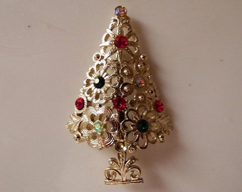 Vintage 1971 // Tancer // Costume Jewelry // Christmas Tree Brooch // Pin