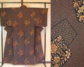 Japanese kimono brown flo...