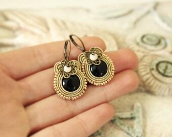 Hazel soutache earrings, black soutache earrings, drop brown earrings, small soutache earrings, brown soutache earrings, soutache jewelry