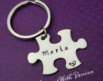 Personalized Puzzle Piece Keychain  - Hand stamped - custom keychain - gift for her - gift for him - Autism awareness