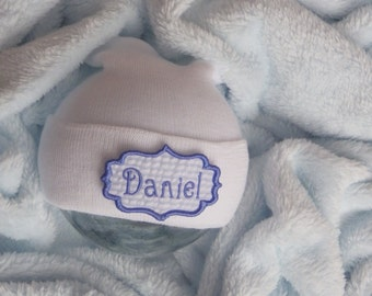 Newborn Boy Hospital Hat. Baby Boy Hospital Hat. Newborn Hospital Beanie. Personalized Newborn Hat. Newborn Name Hat
