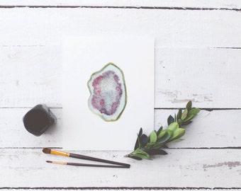Agate Geode Slice in Amethyst Purple