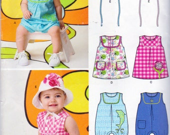 New Look  6111, Babies Romper and Sun Dress with Hats Patterns, Sizes 7 to 24 Pounds, Mock Bib Front, Patch Pockets, Pleat In front of Dress