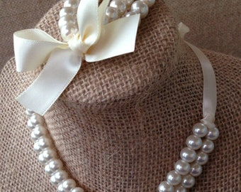 Custom pearl, ribbon and shabby chic flower necklace and bracelet set