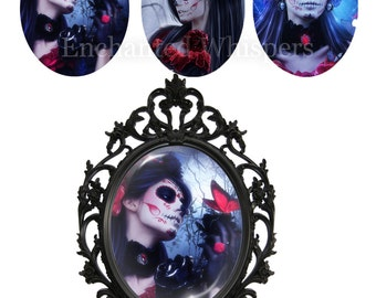 digital collage sheet, 30x40 mm oval, Gothic ovals, Day Of The Dead, Halloween, fantasy, sugar skull, crafts, pendants, caboshons, cameos