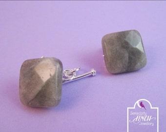 Labradorite Cuff Links, Grey Cuff Links, Gemstone Cuff Links, UK