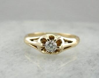 Pierced, Filigree Belcher Set Diamond Solitaire, Vintage Engagement Ring  UAQNHJ-P