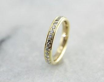 High Karat Yellow Gold and Fine Diamond Wedding Band in Eternity, Infinity Style, Anniversary Ring 3HA2DU-D