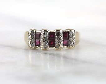 Ruby Windows: Vintage Ruby Gemstone Ring for Wedding Band or Stacking TDTFE5-P