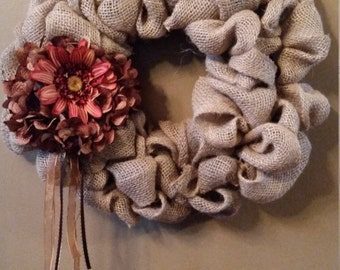 Burlap wreath with fall flowers