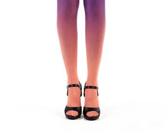 Ombre tights salmon - purple gradient tights