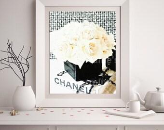 Chanel Decor:  Chanel Art Print, Fashion Watercolor Art Print, Coco Chanel, Chanel Decor, Feminine Bedroom Bathroom Wall Art, Gift for Her