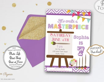 INSTANT DOWNLOAD - Art Birthday Party Invitation - Rainbow Art Party Invite - Paint Party Invitation - Painting Craft Birthday Party - 0203
