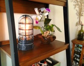"""Industrial cage touch lamp Hammered Black """"Vapor Touch"""" w/ Dimmer, Edison Lamp,nautical,steampunk lamp 120v-240v"""