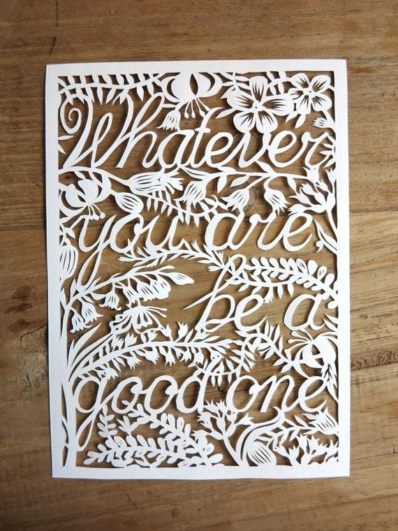 Items similar to Original handmade papercut 'Whatever you ...
