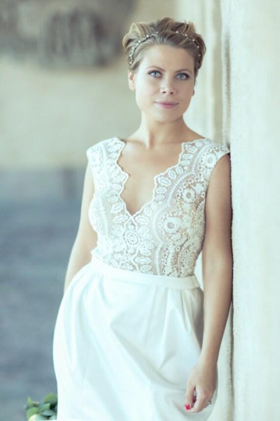 Classic Wedding Dresses Short : Short wedding dress romantic lace gown classic