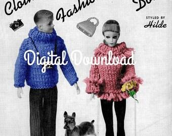 Barbie and Ken Knitting Patterns, 22 Patterns, Ebook, Booklet, Bundle, Leaflet, Vintage 1963, PDF Instant, Digital Download