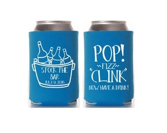 Custom Stock the Bar Can Coolers, Engagement Party, Bridal Shower, Wedding Shower Favors, Beer Hugger, Drink Holder, Personalized Favor