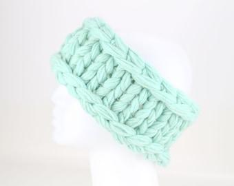 Chunky Hand Knit Cashmere Headband, Upcycled Bulky Ear Warmer, Thick Warm Winter Headband, Reclaimed Cashmere Yarn, Light Robin Egg Blue