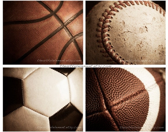 Sports decor, Teen boys room wall art, Man cave decor, Sports gifts, Vintage style,Set of 4 prints // Basketball, Football, Baseball, Soccer