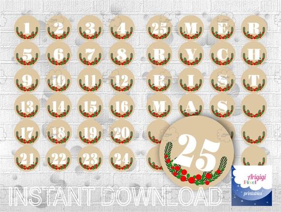 Advent Calendar, Beige, Countdown Christmas, Printable