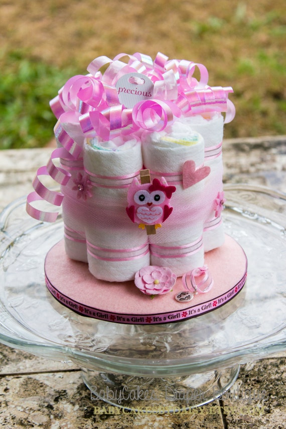 Owl Diaper Cake Centerpiece - Owl Baby Shower Diaper Cake - Owl Baby Shower Gift - Baby Girl Owl Centerpiece - It's a Girl