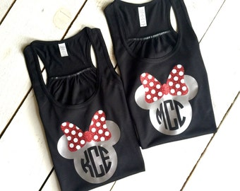WOMENS Minnie Mouse Bow Flowy Racerback Tank Top Monogram Disney Trip Bachelorette Party Family Reunion