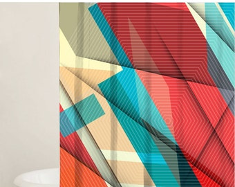 Shower Curtain Set, Bathtub Curtain, Custom Shower Curtains, Geometric Designs, Fabric Shower Curtain, Bathroom Decor, Gift Ideas