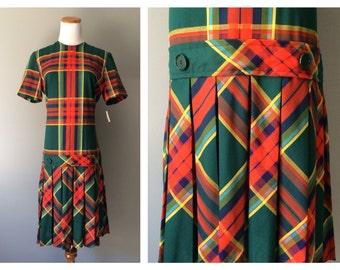 Vintage Plaid Drop Waist Dress Pleated Skirt Green Orange Preppy 1960s SchoolGirl Mod Retro Dress Old New Stock Jumper Size 6 8 Medium Large