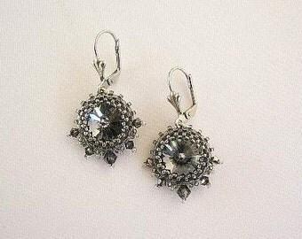 """Swarovski earrings """"Sari"""" in Black diamond"""