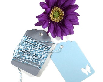 Light Blue Butterfly Tags Set of 20 - Blue Wedding Favor Tags - Butterfly Party Tags - Bridal Shower - Baby Blue Shower - Blank Party Tags