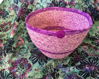 Batik Fabric Coiled Basket, Handmade, 100% Cotton, Welcome Home Gift, Lilacs/Orchids