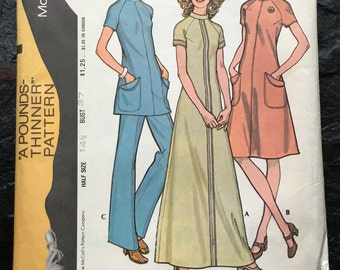 Vintage 1970s Half Size Dress or Tunic & Pants Pattern // McCall's 3161, Size 14 1/2, Bust 37 > A-line, suit, set