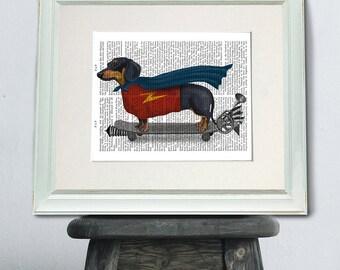 Wiener dog print - on Skateboard art - teen room decor teen room ideas teen room art gift for wiener dog lover hipster décor hipster kid