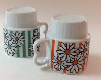 Daisy Stackable Mugs, Japan 1970s, Set Of Two Retro Flower Stacking Mugs