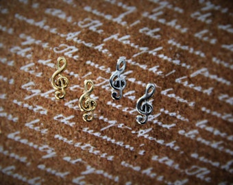 Gold or Silver Treble Clef Stud Earrings!