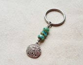 Sand Dollar Beach Keychain with Stainless Steel Keyring and Aqua Blue Green Glass Beads