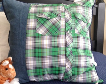 Green Plaid Pillow Cover 20 x 20 inch Pillow Cover Farmhouse Decor Plaid Pillow Cover Green Pillow Cover Kid Pillow Cover Farm Boy Pillow