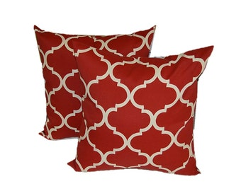 """SET OF 2 ~ 17"""" Red, Ivory Geometric Quatrefoil Decorative Throw Pillows ~ Indoor / Outdoor"""