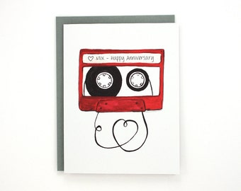Love mix tape - Happy Anniversary greeting card / LOV-MIXTAPE