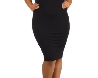 Plus Black Strapless Midi Tube Dress