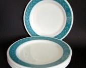 Pyrex Bluegrass Dishes- Set of Four Corning Salad Dessert Snack Side Plates, Laurel Teal & White Grecian Leaf Pattern Milkglass Pyrex