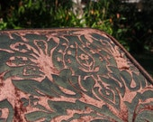 Stamped Velvet Cushion Fortuny-inspired Italian Renaissance Prop Shimmering Ottoman Venetian floral textile Brown ruched trim & backing