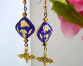 asian earring,cloisonne earring,boucles d'oreilles asiatiques, chinese earring,  bleues boucles d'oreilles, ethnic earring