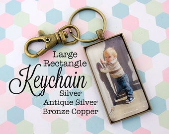 Custom Photo Keychain Rectangle 1x2 Inch / 25x50 mm Key chain Personalized Gift