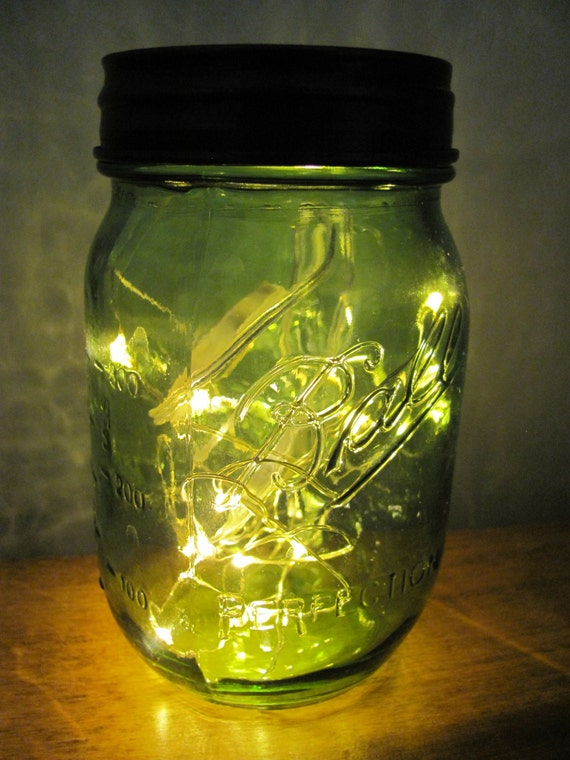 Green Mason Jar Battery Operated String Lights Lantern Pint