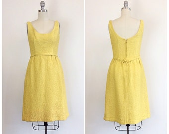 60s Yellow I. Magnin Textured Party Dress - 1960s Vintage Formal Dress With Bow - Small - Size 4