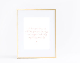 NEW Wall Art Print | Girls | Room | Nursery | I'll love you forever, I'll like you for always