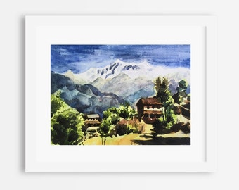 Himalayan Village, Nepal Watercolor Print from a Watercolor painting original, Himalayan Watercolor Painting, Himalayas, Himalaya Village