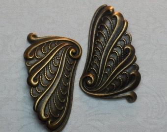 "Fancy vintage gold plate stamped brass flourish,1&1/2""x7/8th"",2pcs-KC243"